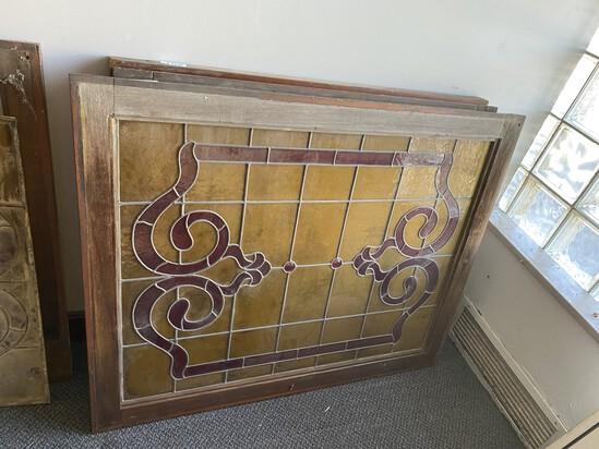 Antique Art Nouveau stained glass window