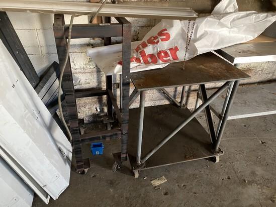 2 Industrial Metal Tables on Wheels PLUS