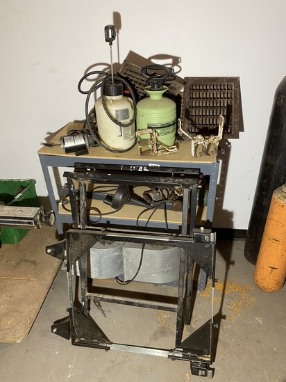 Shelf, work bench, tools, old house grates etc