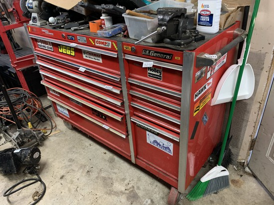 US General 11 Drawer Tool Box Including Vise & Grinder