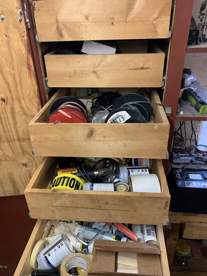 Clean out Garage Closet Shelves - Speaker Wire, Sand Paper, Cable Connectors, Plumbing Items & More