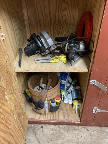 Clean out Garage Closet Shelves - Circular Saw, Tool Bucket, Senco Nailer & More
