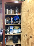 Clean out of Garage Cabinet - Paint Guns, Grease, Elastic Tie Downs & More