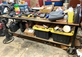 Large Work Bench On Wheels Including the Contents