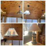 Side Table Lamp and 4 hanging Lights