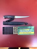 45 Ammunition and Normark Fillet Knife with Sheath