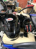 Race Bell Helmet with Cooling Lines, Radio, Race Boots, & Ear Muffs