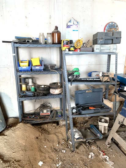 Metal Shelf with Contents & Plastic Shelf with Contents.  See Photos.