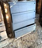 Metal Cabinet with Contents - Gloves, String Trimmer Line & More