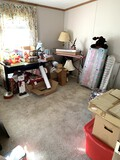 Bedroom Clean Out - HUGE! Lot Christmas Items, Frames, Vintage Sewing Machine.