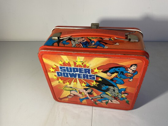 Vintage Metal Lunchbox Superman Batman