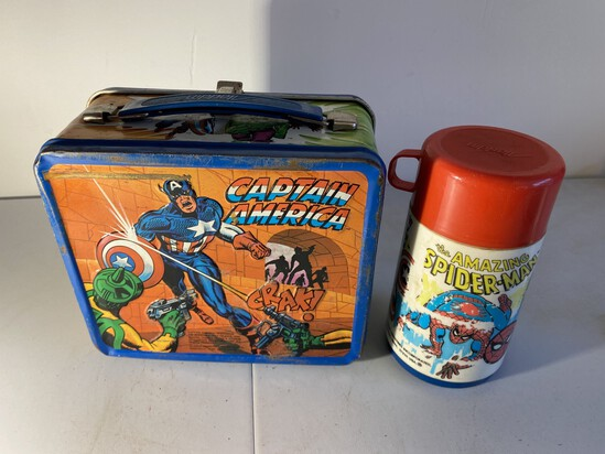 Vintage Metal Lunchbox Captain America