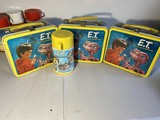3 Vintage ET metal Lunchboxes PLUS One Thermos
