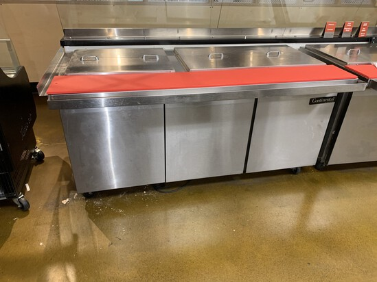Continental Undercounter Refrigerator Stainless Steel Prep Station Model SW72-30M