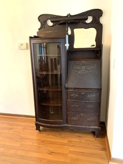 Antique Secretary with Curved Glass Door