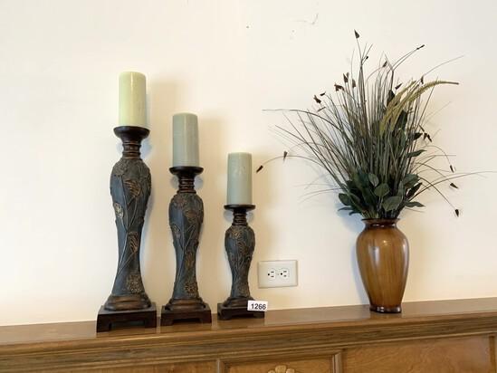 Decorative Candle Holders & Wood Vase