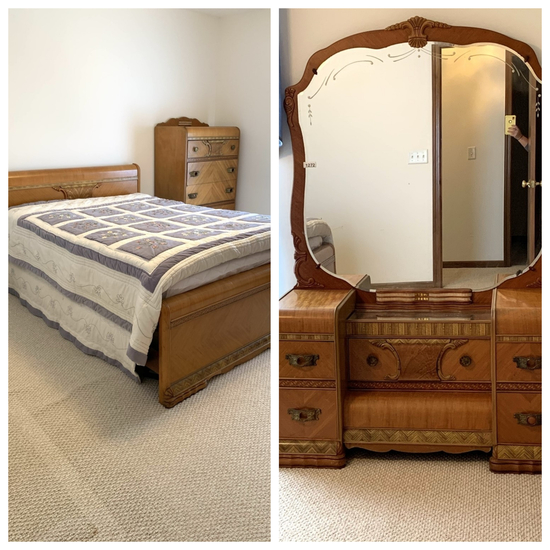 Waterfall Style Queen Bed, Vanity, & Chest of Drawers
