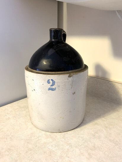 Antique 2 Gallon Stoneware Crock with Lid