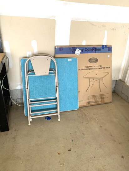 Card Table with 2 Matching Chairs & Glass Top Patio Table in Box