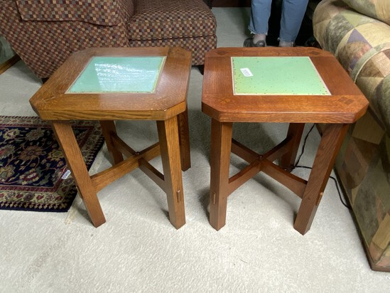 Pair of Stickley Arts & Crafts Tile Topped Lamp Tables