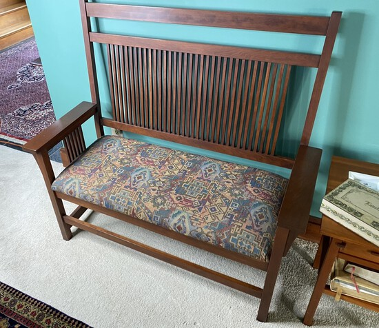 Arts and Crafts Stickley Style Wooden Bench