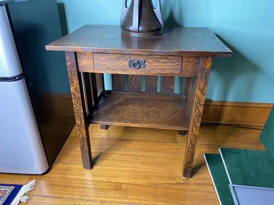 Warren Hile Studio Arts & Crafts Lamp Table with Drawer