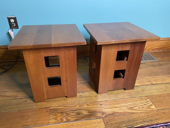 Pair of Stickley Maple Low Lamp Tables Modern