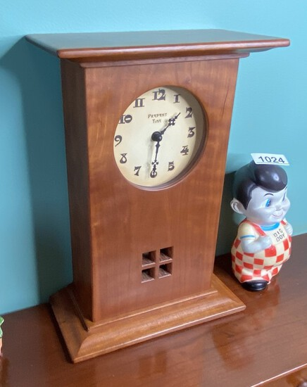 """Present Time"" Arts and Crafts Clock by Jim Dailey"