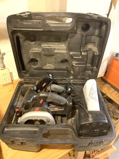 Craftsman Trim Saw, Battery Charger, & Screwdriver Combo.