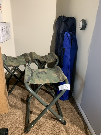 3 Camp Chairs, & 3 Camp Stools