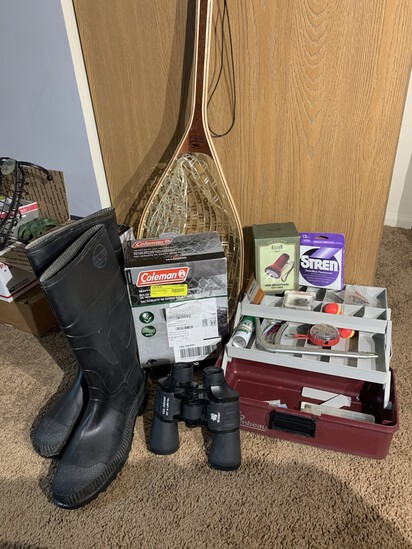 Tackle Box, Binoculars, Rubber Boots, Net & More