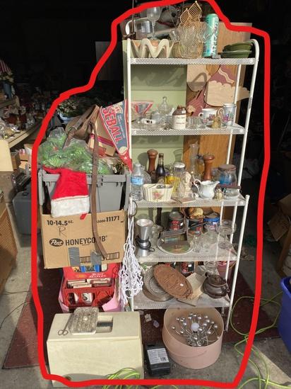 Metal shelf, contents, MCM lamp, boxes