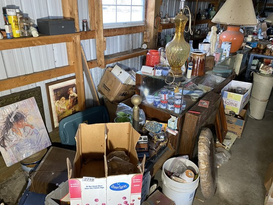 Large lot of vintage along wall