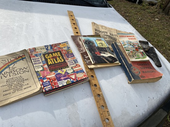 Small lot of misc. paper, yard stick