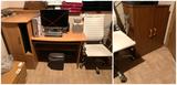 Computer Desk, Shredder, Office Chair, & Small Cabinet