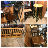 Hitchcock Chairs, Stool with Green Metal Base, Futon No Cushion & More