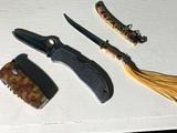Group lot of three knives including miniature samurai sword