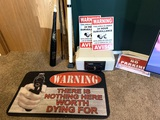 Security Warning Signs, Rug, Sentry Safe with Key & More