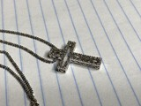 14k white gold cross and necklace chain