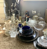 Assortment of Glassware, Candle Sticks, & More