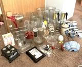 Assortment of Glassware, Vases, Juicer, & Salt and Pepper Shakers & More