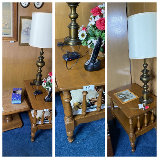 Three small vintage tables, 2 lamps