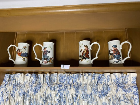 Group of 4 Vintage Norman Rockwell Mugs