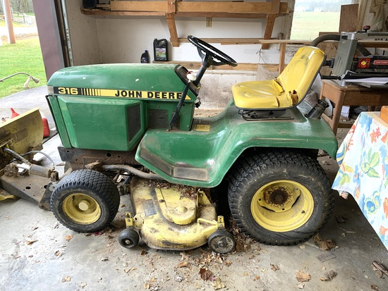 John Deere 316 Lawn & Garden Tractor With Mower Deck & Plow.