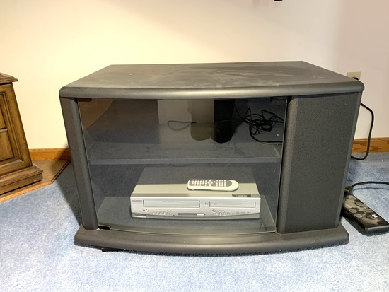 Glass Front Tv Stand with Sylvania VHS / DVD Combo