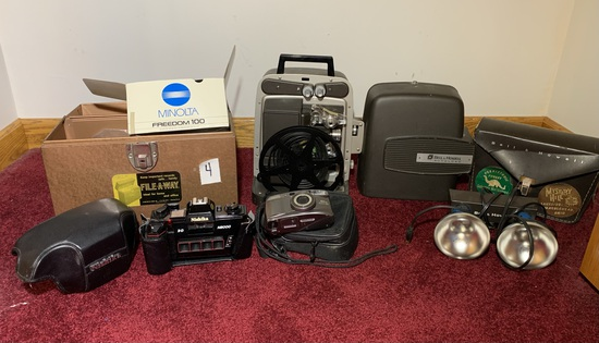 Nishika N8000 35mm 3D Camera, Minolta Freedom 100 Camera, & Bell & Howell Projector