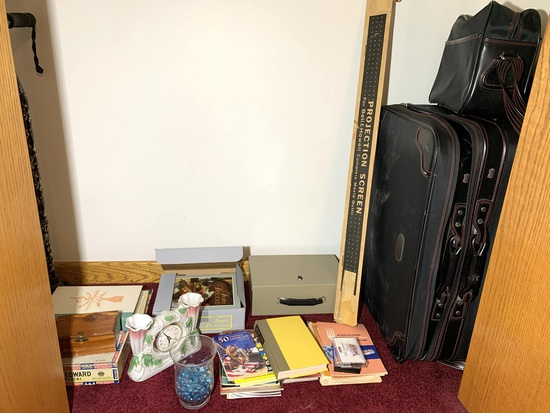 Suitcase, Projection Screen, Lock Box Missing Lock, Cook Books & More