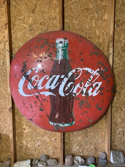 Vintage Original 48 inch Coca - Cola Button Porcelain Enamel Sign