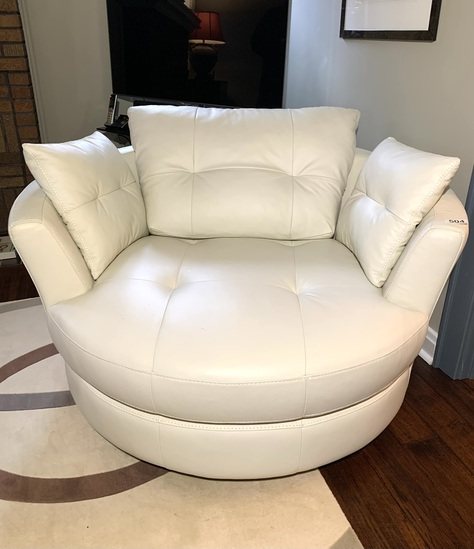 Contemporary Style White Leather or leather look  Chair.