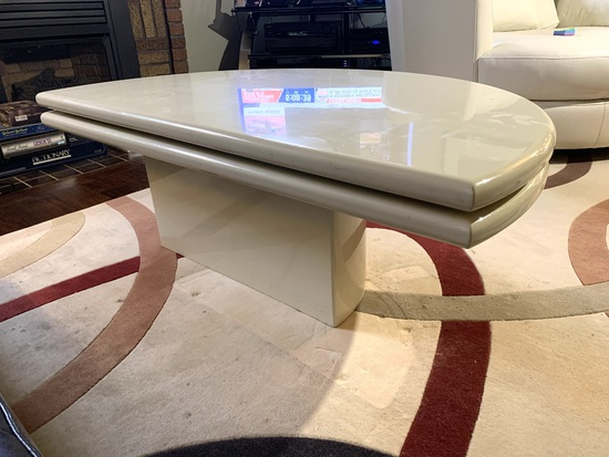 Contemporary Style Half Moon Lazy Susan Coffee Table